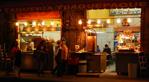 Taqueria Tlaquepaque, the best tacos in town, just off the Zocalo in Mexico City at night
