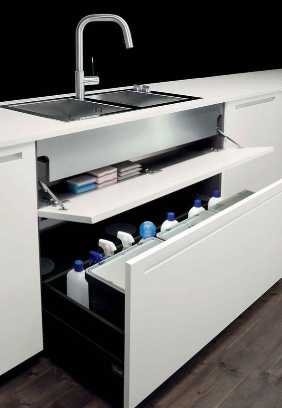how to organize under the sink in kitchen