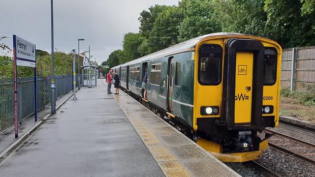 First Great Western 150266. 2T75 1150 Falmoth Docks - Truro.  Penryn.  10th August 2018