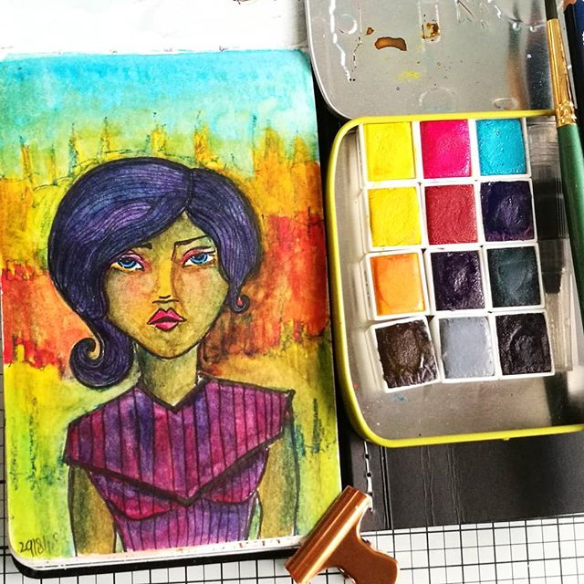 Watercolor practice sketch in my moleskine watercolor pocket book from a few days ago, to test out the @joacreations watercolor sets. The face has a starting base of a @janedavenport clear small face stamp. Not sure if I like it. The sketch, not the paint