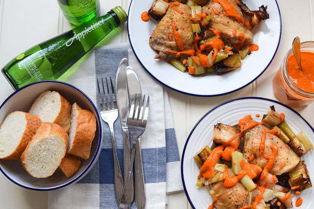 Chicken Thighs with Roasted Leeks and Romesco