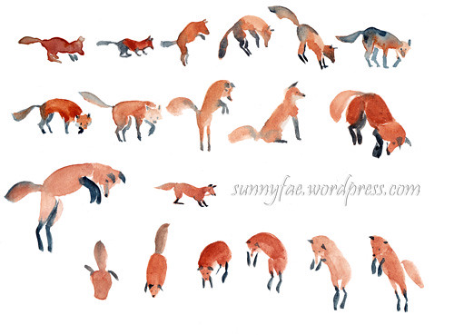 foxes painted with brush strokes