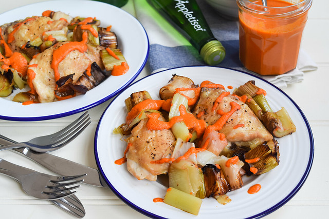 Chicken with Roasted Leeks & Romesco