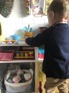 Upcycled child's play kitchen. Made in 2012 and still going strong. What held up to use and what didn't? Read on EvinOK.com