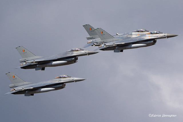 4-ship formation F16's Belgian Air Force