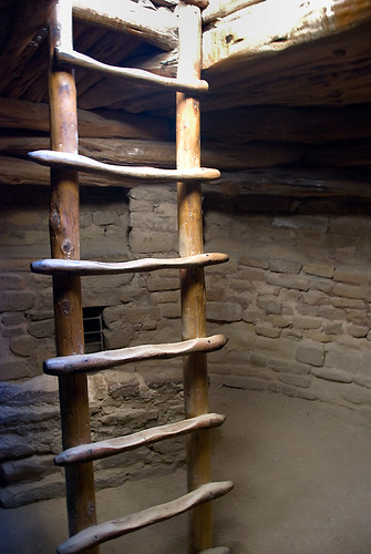 A ladder leads up from a ceremonial 'kiva' at Balcony House, a cliff dwelling in Mesa Verde National Park, Colorado