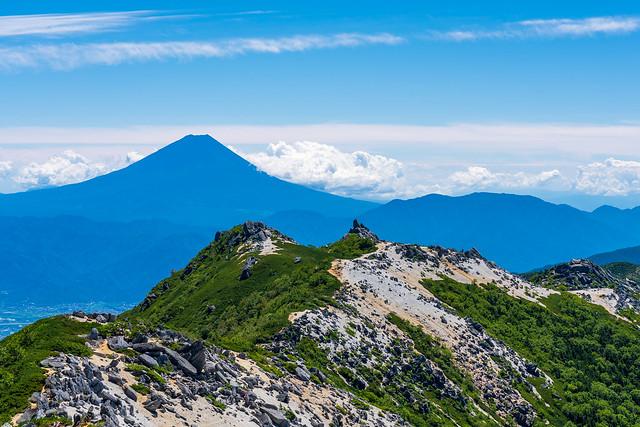 富士、薬師岳、砂払岳
