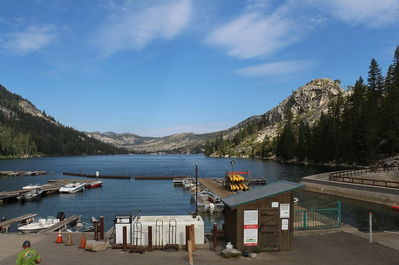 Looking north over the boat docks at Echo Lake from the PCT Trailhead