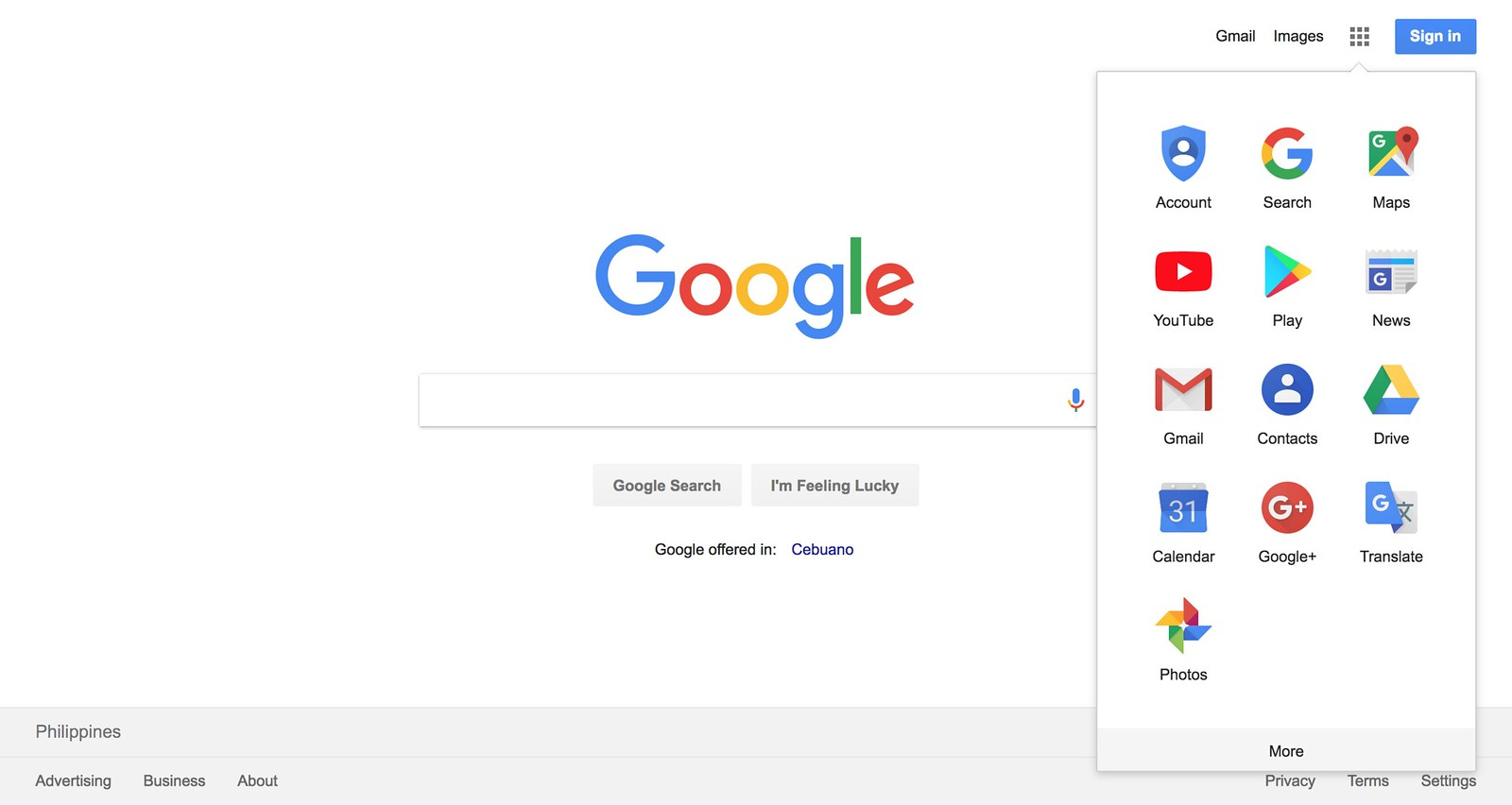 Google Homepage - Google Apps Menu