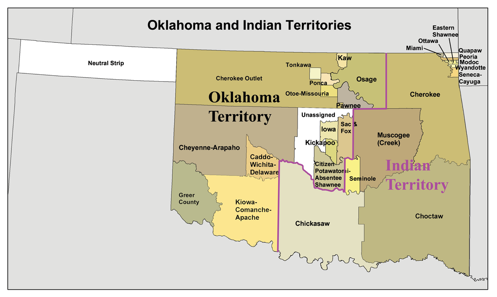 Map of the Oklahoma and Indian Territories, circa 1890, including the Cherokee Outlet