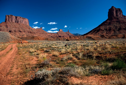 Buttes, rock formations typically seen on Utah's Highway 128, a scenic drive into the desert country of the Old West