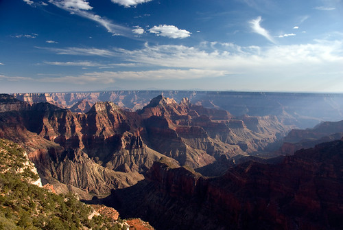 North Rim of the Grand Canyon in Arizona as the sun sets