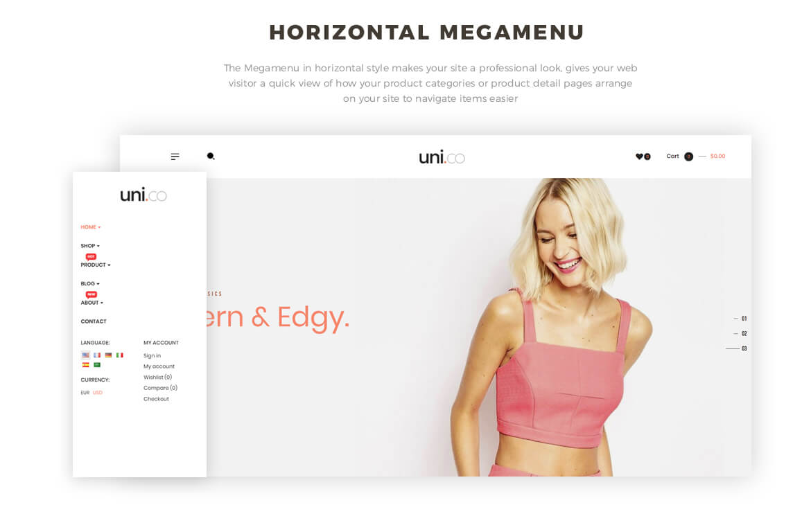 horizontal mege menu - best unisex fashion template