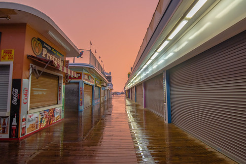 boardwalk seasideheights storm rain sunset nj newjersey