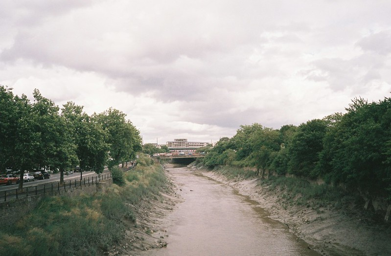 Looking east down the Avon from the Banana Bridge to Temple Meads
