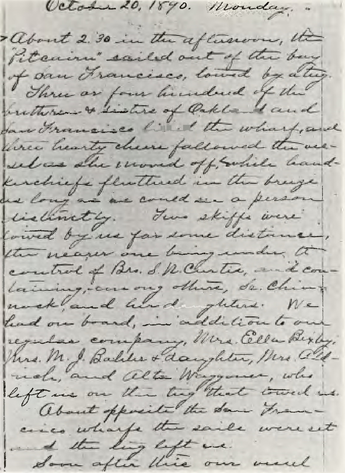 Opening page of the schooner Pitcairn's log describing her departure from San Francisco Bay on October 20, 1890.
