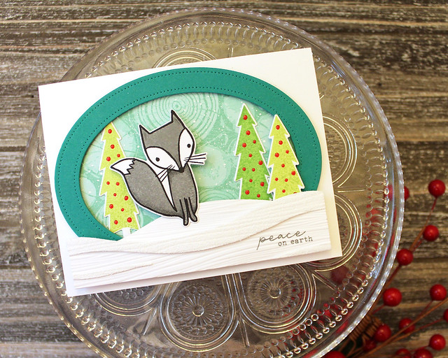 LizzieJones_PapertreyInk_September2018_WinterFox_Text&TextureWoodSlices_PeaceOnEarthCard