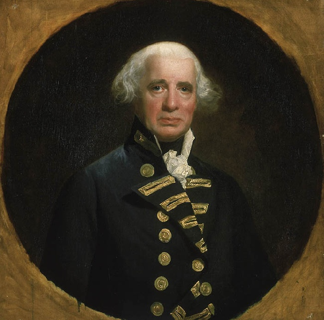 Oil on canvas portrait of British Admiral Richard Howe (1726-1799) from a mezzotint engraving by R. Dunkarton, after the painting by John Singleton Copley