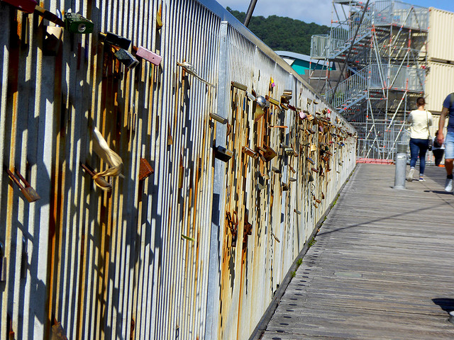 """Padlocks adorn the footbridge that crosses Frank Kitts Lagoon along Wellingtons waterfront and follow the tradition of """"Love-Locks"""" started in France on the Pont des Arts and Pont de l'Archeveche."""