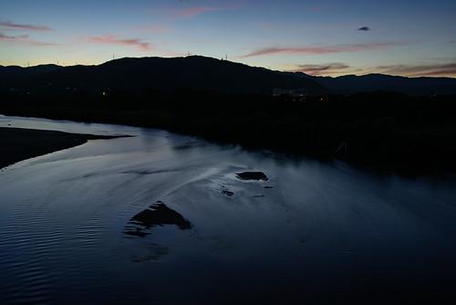京都府 八幡市 kyoto 川 淀川 river 背割堤 夕景 sunset