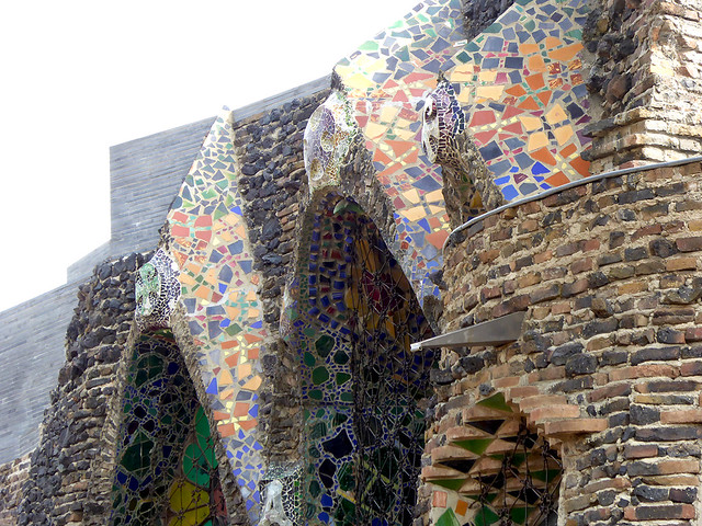 image of the detail ceramic inlay at Cripta Gaudí, just outside of Barcelona at Colonia Guell