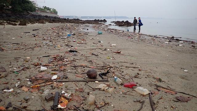 Trash on Punggol shore