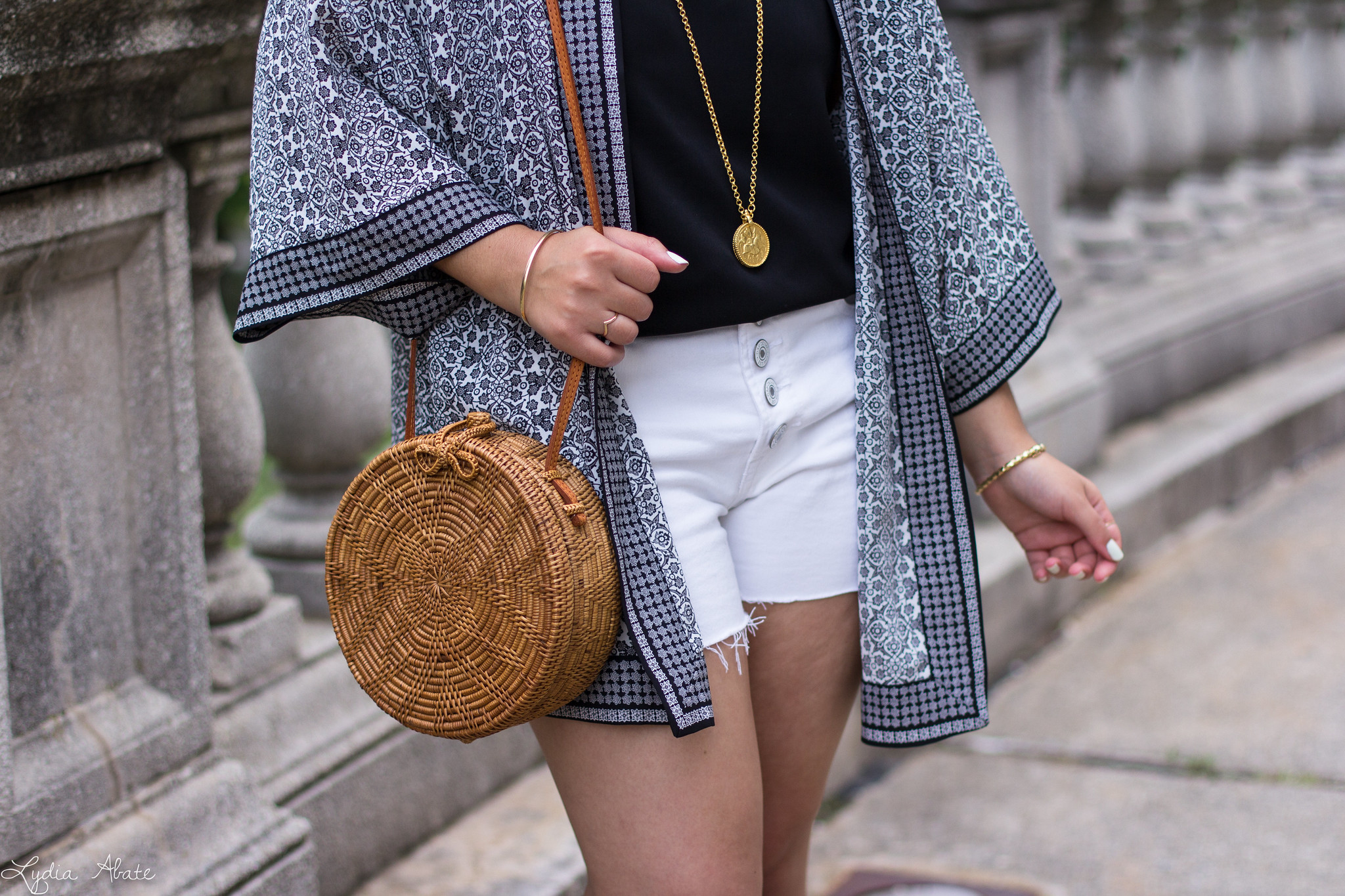 Black and White Kimono, Denim Cut-off Shorts, Round Straw Bag-13.jpg