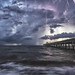 Late Sunrise Lightning at the Pier by MyKeyC