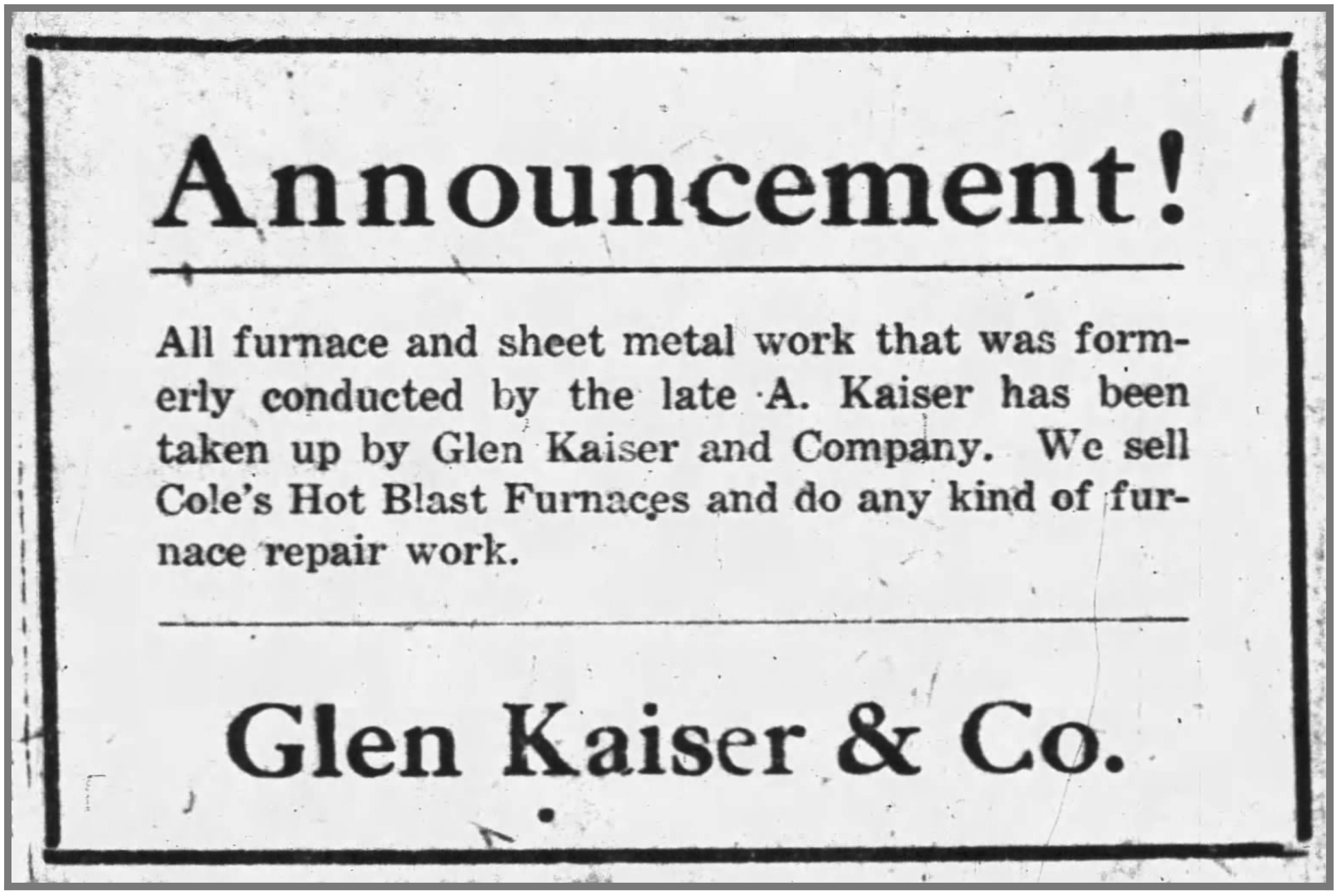 Kaiser_Glenn_1923_MetalCompany_DekDailyChron_25Oct