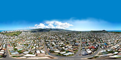 Kaimuki, Kapahulu and Waikiki as shot from my DJI Mavic Pro hovering at 394 ft above 6th Avenue - an aerial 360° Equirectangular VR