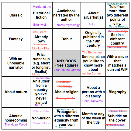 2018 Book Bingo Final