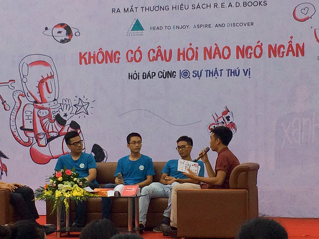 With fellow co-authors at Hanoi Book Fair 2016.