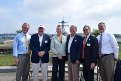 September 6, 2018. (L to R) Sen Paul Formica, Chairman of the CT Maritime Heritage Festival Chairman John Johnston, Rep. McCarty, Commander of Sector Long Island Sound Kevin Reed, CT Maritime Heritage Festival Honorary Co-Chair Scott Bates and Waterford First Selectman Dan Steward