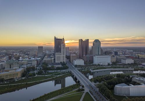 columbus ohio cityscape sunrise downtown architecture ariel hdr reflections