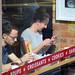 DSC_8593 London Bus Route #205 Shoreditch High Street Pret A Manger Sandwich shop Lady on the Phone