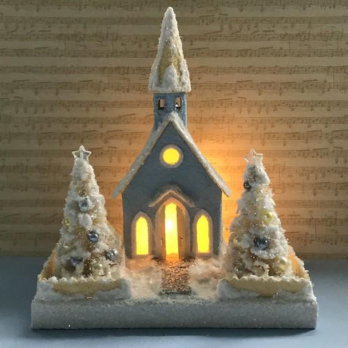 Mini light blue and ivory Putz church