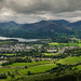 Panoramic view over Keswick & Derwent Water from Latrigg, Keswick, Cumbria, Lake District, England