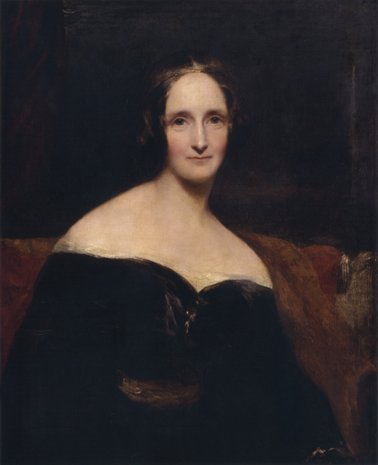 Richard Rothwell's portrait of Mary Shelley was shown at the Royal Academy in 1840, accompanied by lines from Percy Shelley's poem The Revolt of Islam calling her a