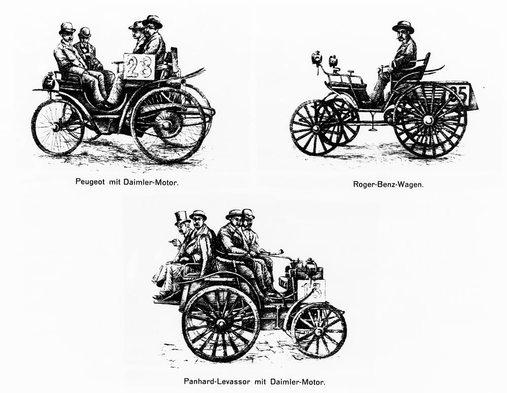 In the world's first car race from Paris to Rouen on July 22, 1894, over a distance of 126 kilometers, cars powered by Daimler engines won first prize. A vehicle from Benz also successfully took part in the race and was awarded fifth prize.