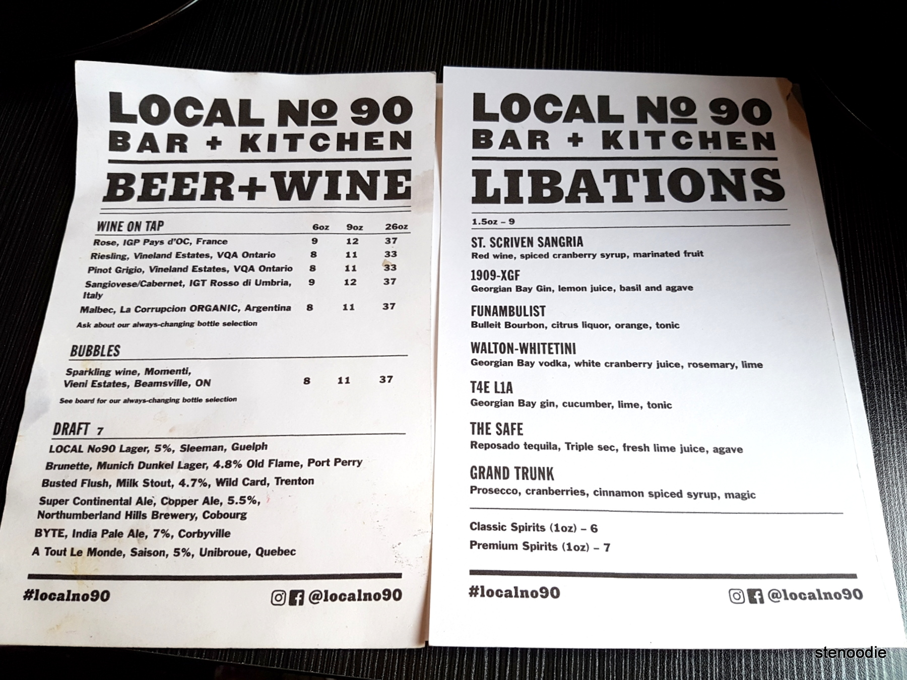Local No90 Bar + Kitchen drinks menu and prices