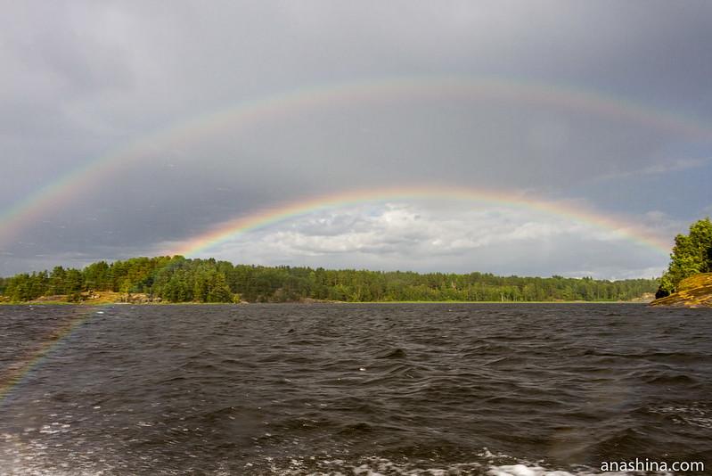 Двойная радуга, залив Лехмалахти, Ладожское озеро