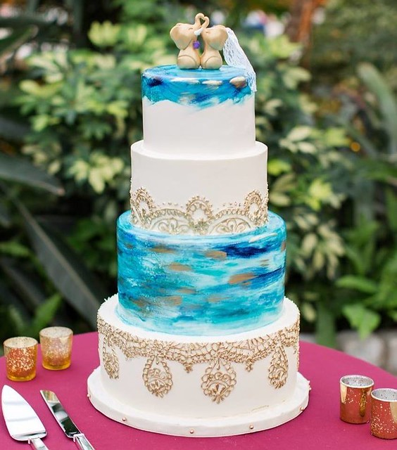 Handpainted Golden Mendhi Wedding Cake by Whipped Bakeshop