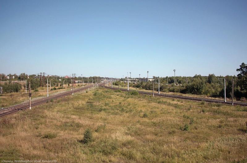 Западная горловина станции Куровская.