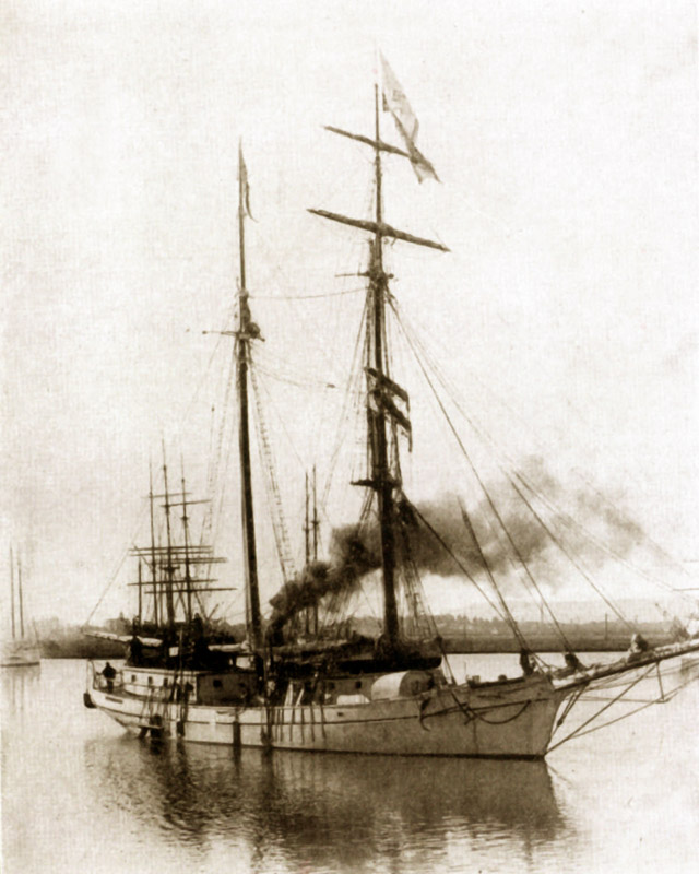 The ship Pitcairn with others at Oakland, California, awaits the start of its next voyage to the South Pacific Ocean, circa 1894-1895.