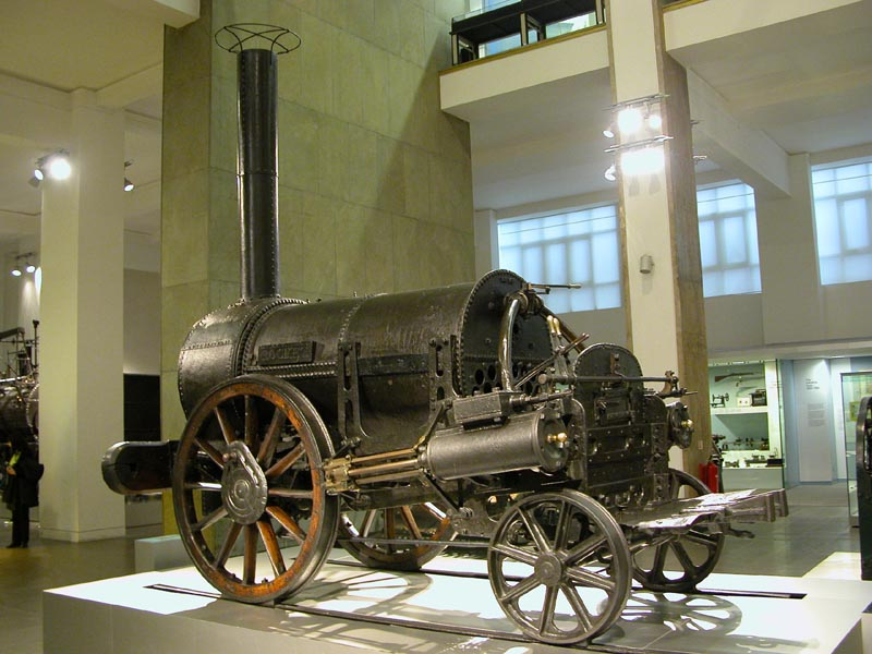 Rocket in 2004. The design has been substantially modified since the 1830s but it retains its original wheels. Photo taken by William M. Connolley at the Science Museum, London, on March 13, 2004.