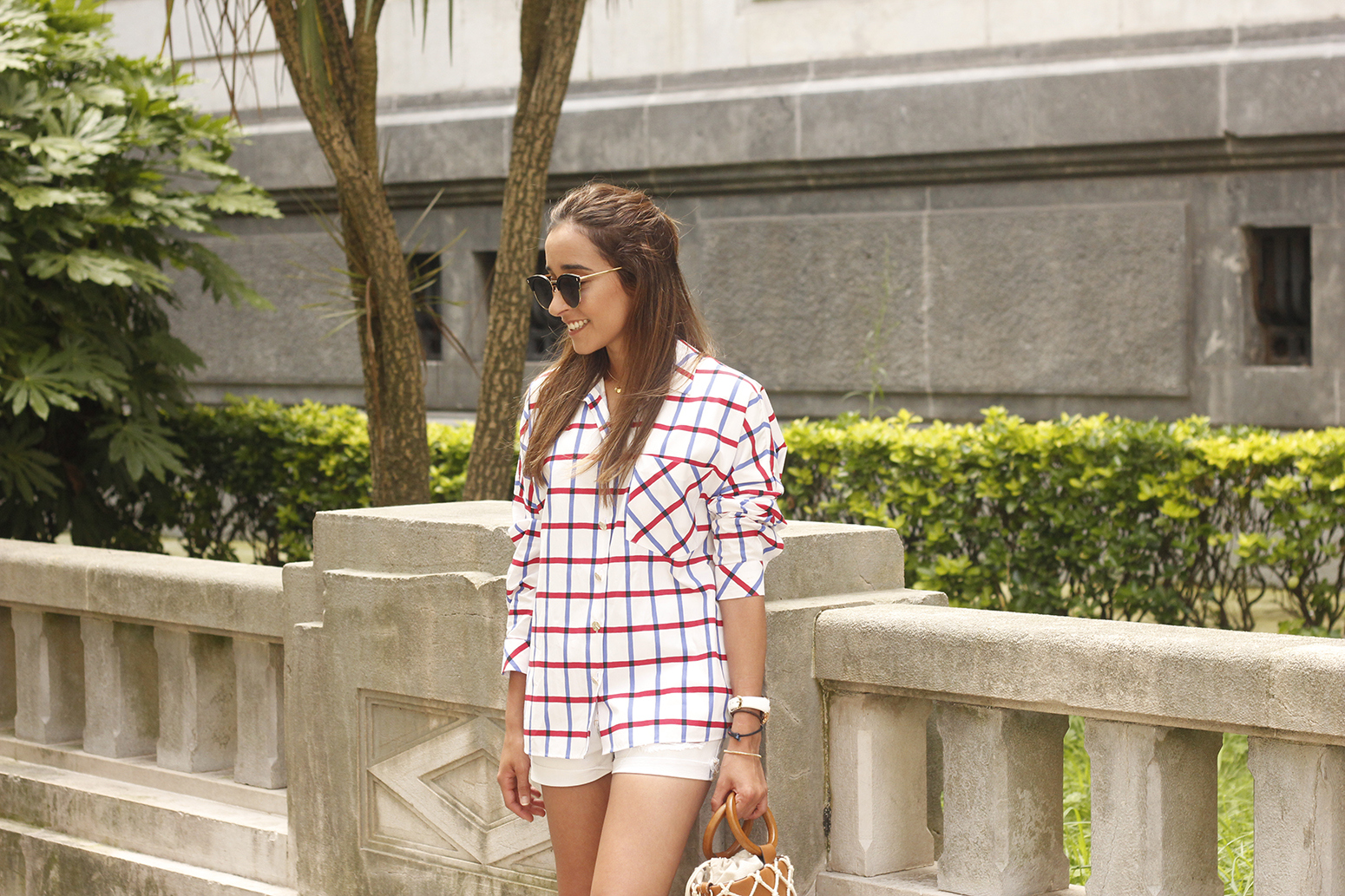 oversize plaid shirt denim shorts white mules street style summer outfit 201811