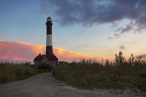 fireisland lighthouse atlantic ocean dawn sunrise clouds early morning twilight path road