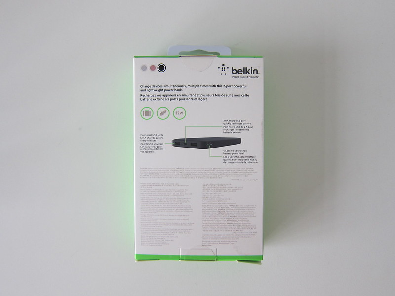 Belkin Pocket Power 10K Power Bank - Box Back