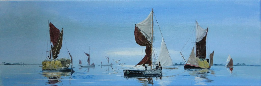 Early morning in South East England , Sprit Sail Barges and Oyster Smacks