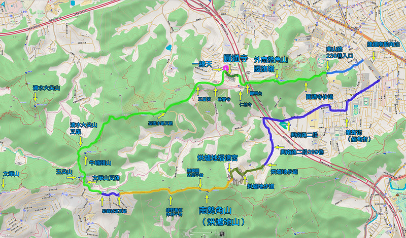 021、標示軌跡二:中和步道O型:圓通寺步道-彩蝶社區-烘爐地山步道